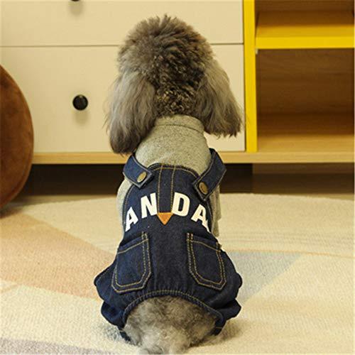 YUNSW Brief Gedruckt Jeansoverall Hund Vierbeiner Haustier Kleidung Teddy Hund Kleidung Herbst Und Winter Hund Kostüme Grau XL