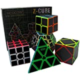 Fibra del Carbón Cubo mágico cajas de regalo Set 2x2x2,3x3x3,Meganminx ,Skewb , Pyraminx Juguete profesional del cubo del rompecabezas (Set02)