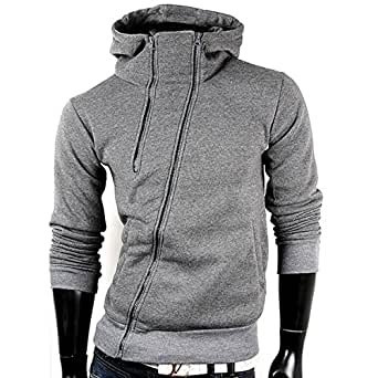 Sweatjacke Kapuzenpullover Pullover Herren Pulli Hoodie (S, Dunkel Grau)