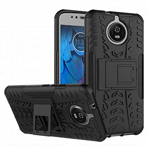 Defender with Kick Stand Back Cover Case for Motorola Moto G5s Plus - (Black)