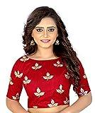 Kuvarba Fashion Women's Cotton Silk Saree Blouse(kfblmapple.red_Red4_Free Size)