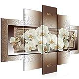 Bilder Blumen Orchidee Wandbild 150 x 100 cm Vlies - Leinwand Bild XXL Format Wandbilder Wohnzimmer Wohnung Deko Kunstdrucke Braun 5 Teilig - MADE IN GERMANY - Fertig zum Aufhängen 205453c