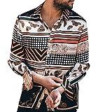 Camicia Etnica Uomo Stampa Tradizionale Hippy Boho Camicia Uomo Eleganti Slim Fit Casual Manica Camicia Slim Fit in Cotone a Manica Lunga Uomo T-Shirt