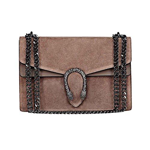RACHEL Umhängetasche Handtasche mit Kette und Schließen von Zubehör metallischen dunklem Nickel, Glatteleder und Wildleder, Hergestellt in Italien groß Turteltaube