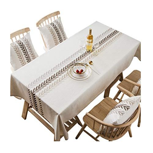 Tovaglia righe rettangolari lino in cotone lavabile ricamo antipolvere for la decorazione domestica senza rughe copertura da tavolo antiscivolo (color : b, size : 130cm*180cm)
