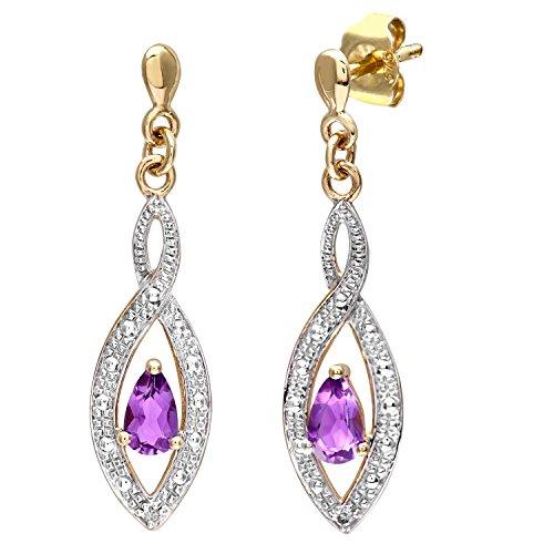 3 Diamant-ohrringe Karat 4 (Naava Damen-Ohrhänger 9 K 375 Gelbgold Diamant Amethyst PE03459Y AM)