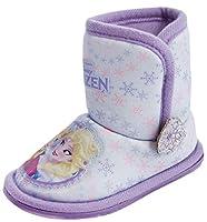 Ragazze Primi Passi Disney Frozen Elsa Anna Olaf Pantofola A Stivale Babuccia Pelo Fiocco di neve Blu/Rosa Lilla/Viola Taglia 6-13 - Frozen - Lilla/Viola, EU 24