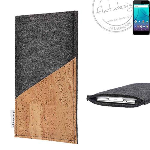 flat.design Handy Hülle Evora für Allview P7 Lite handgefertigte Handytasche Kork Filz Tasche Case fair dunkelgrau