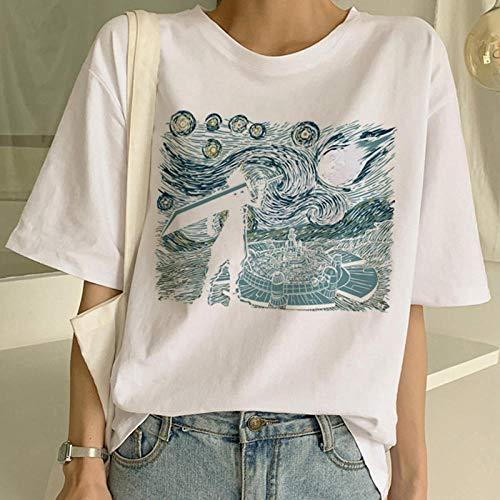 DFDONG Damen T-Shirt Van Gogh Ölgemälde T-Shirt Kunst Malerei T-Shirt Frauen Lustige Print Kurzarm T-Shirt Harajuku T-Shirt Mode Top Tees Weiblich @ XXXXL