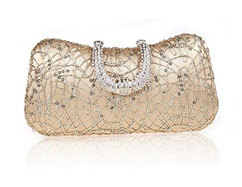 La borsa femminile nuova borsa a mano vestito bag sposa banchetto di sera di modo diamante fibbia borsa ( Colore : Nero ) Oro