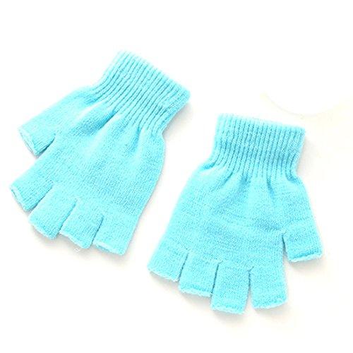 1 Paar Winter weiche warme elastische gestrickte Stretch Half Finger Fingerlose Handschuhe Himmel Blue (Weiche Stretch-handschuhe)