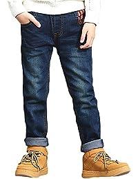 Niños Vaqueros Pantalones Casual Cintura Elástica Mezclilla Pantalones Jeans con 4 bolsillo