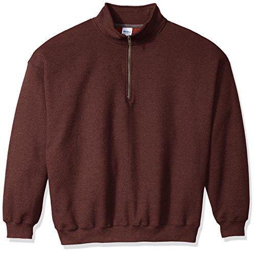 Gildan Men's Fleece Quarter-Zip Cadet Collar Sweatshirt Extended Sizes, Russet, XX-Large -