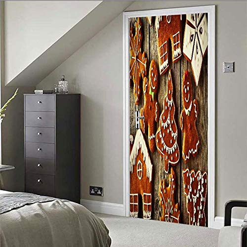 DNFurniture 3D Tür Aufkleber Cartoon-Cookie 77X200CM Europäische Selbstklebende tapete DIY visuelle Aufkleber wandbild PVC Hause wandaufkleber Kunst Stereo