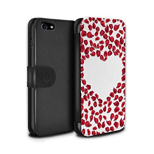 Stuff4 Coque/Etui/Housse Cuir PU Case/Cover pour Apple iPhone 7 / Roses & Arc Design / Coeur Valentine Collection Pétales Rose Rouge