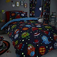 Happy Linen Company Childens Boys Girls Space Monsters Planets Glow In The Dark Blue Reversible Single Bedding Duvet Cover Set