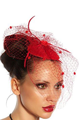 Haarschmuck mit Schleier für Kostüm Karneval Fasching oder Burlesque - an der Innenseite der Kappe mit 2 Haarklammern zu befestigen - Mini-Hut Fascinator A12145, Rot, onesize (Sw (Kostüm Hut Rote)