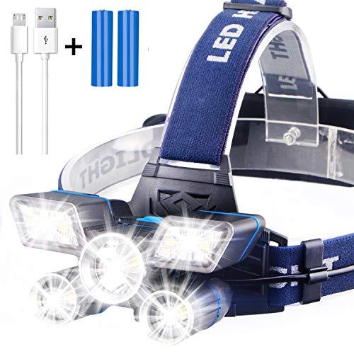 Soft Digits Stirnlampe【21LED】, 9 Modi 13000 Lumen Super hell USB Wiederaufladbare Kopflampe, Stirnlampe LED Wasserdicht für Camping Angeln Joggen Lesen Arbeiten