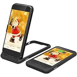 ICHECKEY iphone6/6s/7/8 Coque Batterie Musical Rechargeable Extra Fine léger 3 en 1 mulfonction (Batterie/Protection/Support) 3000mAH Coque Batterie Externe Portable de Secours Fonction Musical Noir