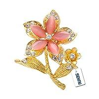 SENFAI Opal Crystal Flower Brooch Jewelry Safety Pin Women Birthday Gift (Pink)