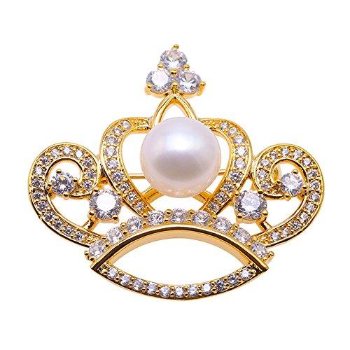 jyx Krone Brosche Süßwasserperle weiß Bouquet Brautschmuck Hochzeit Geburtstag Geschenke für Mama girl-golden