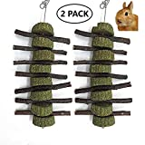 Bestenrose 2 Pcs Bunny Hamster Chew Toys for Teeth Apple Sticks for Small Animal Grass Balls Chewing for Bunny Rabbits Chinchilla Guinea Pigs Hamsters Parrots (6 grass cakes)