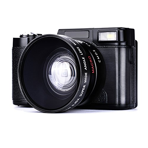 MARVUE Camcorder Kamera Full-HD 1080p 24,0 Megapixel 3 Zoll Bildschirm 4x Digital Zoom Digital Videoaufnahme Inbegriffen 52MM Weitwinkelobjektiv