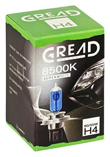 2x H4 Halogen Lampen in Xenon Optik von Gread Lights | Super White | 8500k 60/55W | E-Prüfzeichen | 100% Passgenauigkeit & lange Lebensdauer