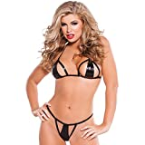 Allure Wetlook Triangel-BH und String in schwarz