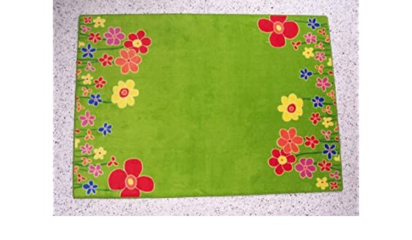 Kinderteppich blumenwiese  Kinderteppich Blumenwiese grün Velours ca. 200 x 300 cm 2. Wahl ...