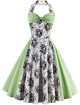 Louis Rouse mujeres Vintage Floral vintage vestido de fiesta vestido halter patchwork