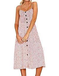 Msliy Damen Kleider Sommerkleid Rückenfrei Blumenmuster Midi Strandkleid  Trägerkleid V-Ausschnitt Knopfleiste mit Tasche… 8bc034f248