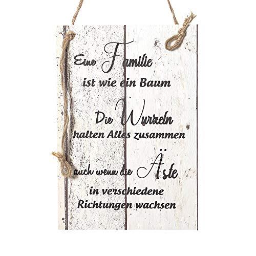 Wand Deko Holzschild mit Spruch im Shabby Chic Vintage Stil (29x20x0,5cm) - Eine Familie ist wie EIN Baum - die Geschenkidee (Familie Schilder)