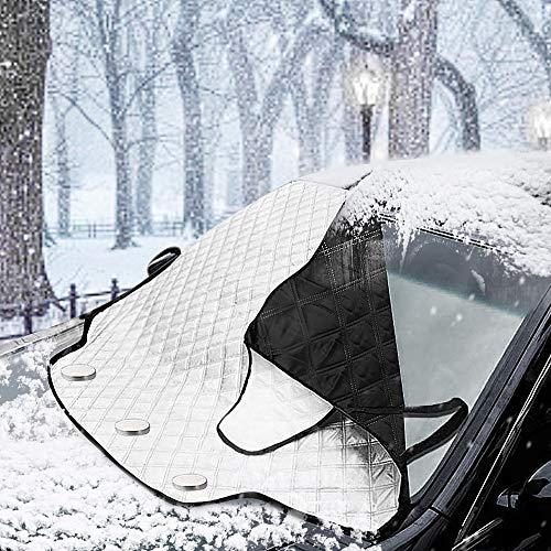 MATCC Frontscheibenabdeckung Auto Magnetische Autoscheibenabdeckung Plane Abdeckung für Frontscheibe Sonnenschutz Schneeschutz Windschutz Frostschutz Eisschutz Abdeckung Keine Kratzer(147 * 111cm)