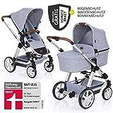 ABC Design Condor 4 (2019) - Kombikinderwagen - XXL Kinderwagen Set 2in1 - inkl. Babywanne, Sportwagen, Regenschutz, Insektenschutz, Sonnensegel - Graphite Grey