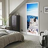 MINRAN DECOR 3D Photo Murales Murales Grèce Santorini Porte Peintures autoadhésives amovibles 3D Auto-adhésif Imperméable 200 * 77cm , 77*200cm