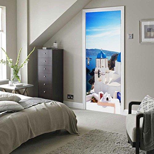MINRAN DECOR 3D Photo Murales Murales Grèce Santorini Porte Peintures autoadhésives Amovibles 3D Auto-adhésif Imperméable 200 * 77cm, 77 * 200cm