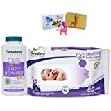Himalaya Herbals Baby Powder (50g)+Himalaya Herbals Soothing Baby Wipes (12 Sheets) With Happy Baby Luxurious Kids Soap With Toy (100gm)