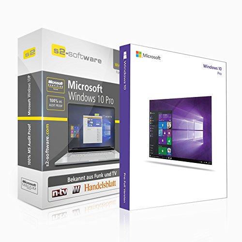 Microsoft® Windows 10 Professional (PRO). ISO CD / DVD. 32 bit & 64 bit. Deutsch. Original Lizenzschlüssel mit Software Box der S2 Software GmbH.