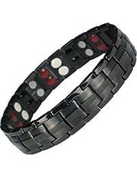 MPS® 4 bioéléments Titane bracelet magnétique avec boucle déployante et des aimants puissants, 3000 gauss chacun. Avec outil gratuit pour enlever liens.