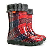 Exclusive Boys Girls Kids Warm Fleece Lined Wellington Boots Wellies (Red Tartan, 5-6 UK / 22-23 EU - 140mm)