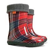 Exclusive Boys Girls Kids Warm Fleece Lined Wellington Boots Wellies (Red Tartan, 3-4 UK( todler) 20-21 EU � 126mm)