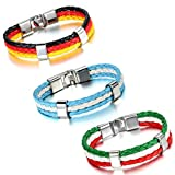 Aroncent Stylisches Armband Lederarmband Kordelarmband Fanartikel Fussball Weltmeisterschaft WM & EM Europameisterschaft 2016 Länder Style geflochten