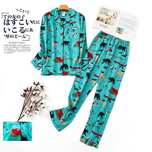 HIUGHJ Pyjamas Nette Karikatur 100% gebürstete Baumwollfrauenpyjamasätze beiläufige Pyjamas für Frauen einfache - Einfach Nette Frauen Kostüm