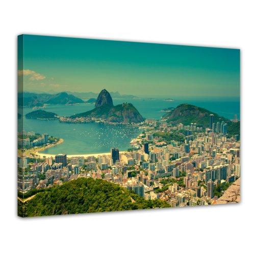 Kunstdruck - Rio De Janeiro - Berg Corcovado - Bild auf Leinwand - 80x60 cm 1 teilig - Leinwandbilder - Bilder als Leinwanddruck - Städte & Kulturen - Panorama Stadtansicht - Brasilien - Südamerika