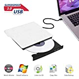 Graveur DVD Lecteur CD Externe USB 3.0 RW ROM Writer Ultra Slim Disque Player Drive Stockage,Transmission en Haute Speed,Compatible PC/Hp/Dell/Macbook Air Pro Mac OS/Windows/ Samsung/Lenovo/Ordinateur Portable HDMI avec Câble USB 3.0
