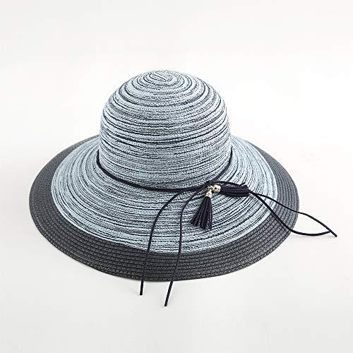 NAN® Hut-Dame-Sommer-Strohhut Sonnenschirm-Strandhut UV-Schutz Sonnenhut Sonnencreme Big Hat Frau,Blue,OneSize