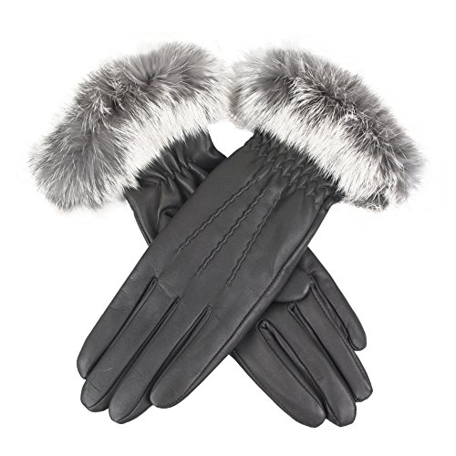 Dents Vanessa Tipped Fur Ladies Glove Charcoal