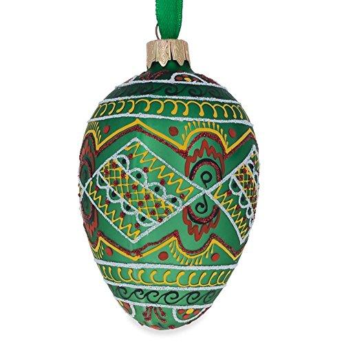 BestPysanky 10,2cm grün geometrische Osterei Ukrainische Ei Glas Weihnachten Ornament (Ornament Glas-osterei)