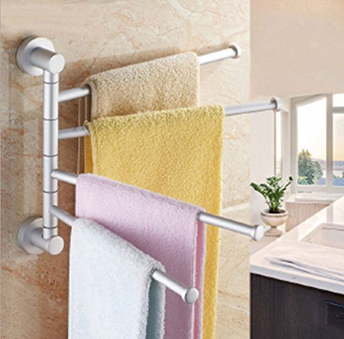 JOYOOO Bathroom & Kitchen Wall Mount Swing Arm Towel Bars, 4-arm Solid Stand, Space Aluminum Swing Arm Wall Mount